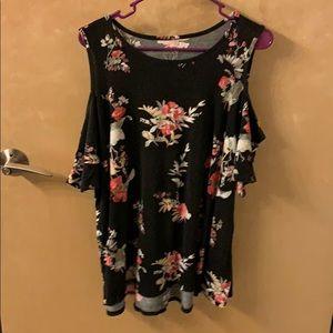 Black floral cold shoulder blouse